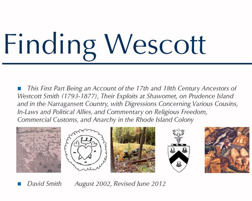 Click this image to open a PDF of Finding Wescott, some of the story behind why a guy named Smith names his business Wescott Music